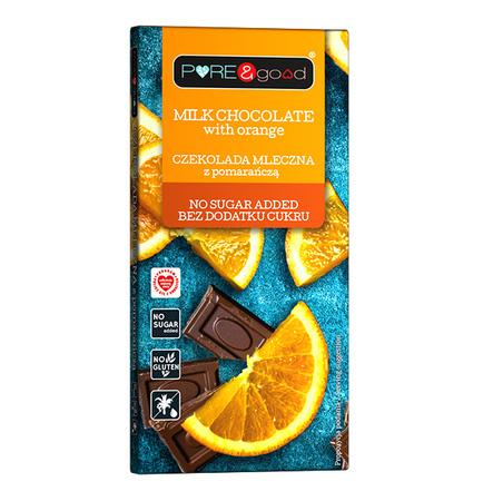 Czekolada PREMIUM mleczna z pomarańczą, bez dodatku cukru (1)
