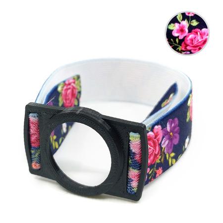 Opaska zabezpieczająca sensor Freestyle Libre czarna kwiaty 2 (1)