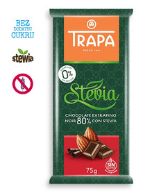 Czekolada gorzka 80% kakao, ze stewią, bezglutenowa, bez dodatku cukru