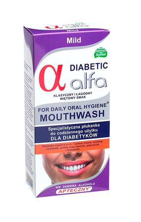 ALFA DIABETIC płyn do płukania jamy ustnej dla diabetyków łagodna mięta (1)