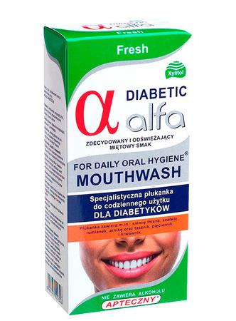 ALFA DIABETIC płyn do płukania jamy ustnej dla diabetyków orzeźwiająca mięta (1)
