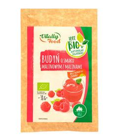 BIO Budyń o smaku malinowym z malinami bez dodatku cukru Vitally Food