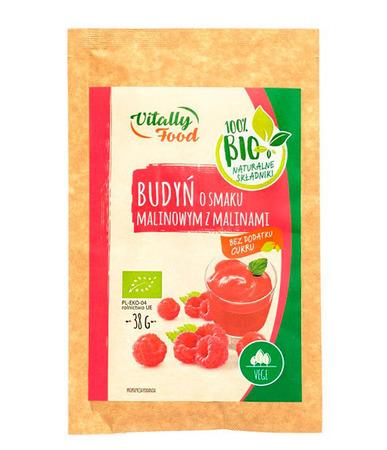 BIO Budyń o smaku malinowym z malinami bez dodatku cukru Vitally Food  (1)