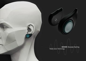dyskretny kolczyk, który będzie monitorował poziom cukru we krwi i przekazuje informacje zwrotne do telefonu w czasie rzeczywistym.